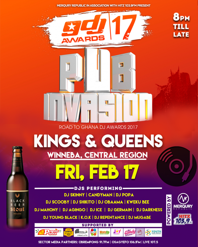 The Ghana DJ Awards Pub Invasion is live in the Central Region of Ghana this Friday