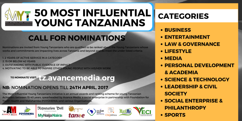 Nomination Opens for 2017 50 Most Influential Young Tanzanian Ranking