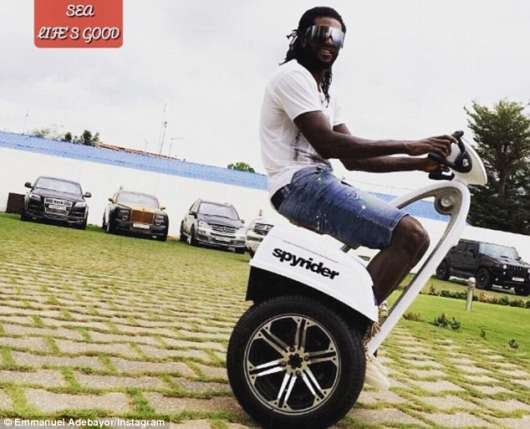 Photo : Emmanuel Adebayor enjoys a ride on £18,000 Can-Am Spyder trike