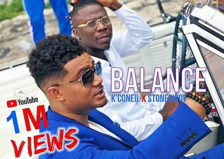 K'coneil 'Balance' video featuring Stonebwoy hits 1million views on YouTube in less than 2weeks – MonieBeatz reacts (Screenshots)