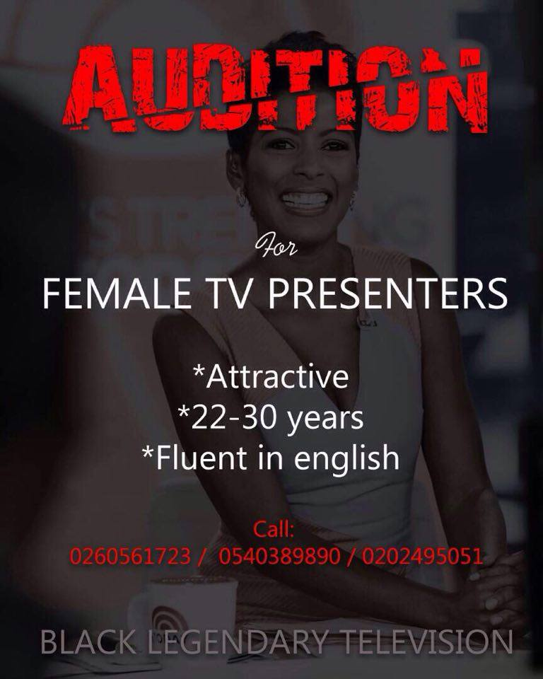Black Legendary TV Auditions For Female Presenters Tomorrow