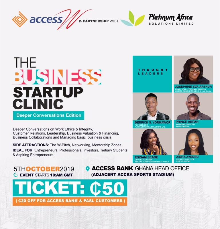 Josephine Eva-Arthur, Prince Akpah, Derrick Vormawor to speak at 8th Business Start Up Clin