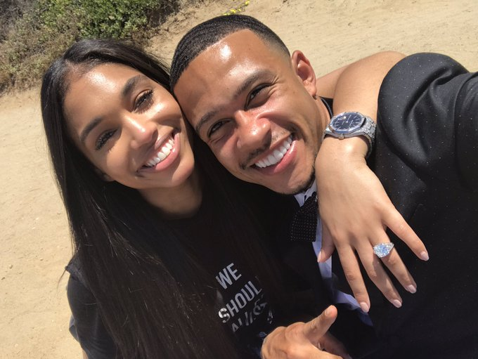 Photo: Man. U. footballer Memphis Depay, Lori Harvey and her engagement ring glitter in new photo