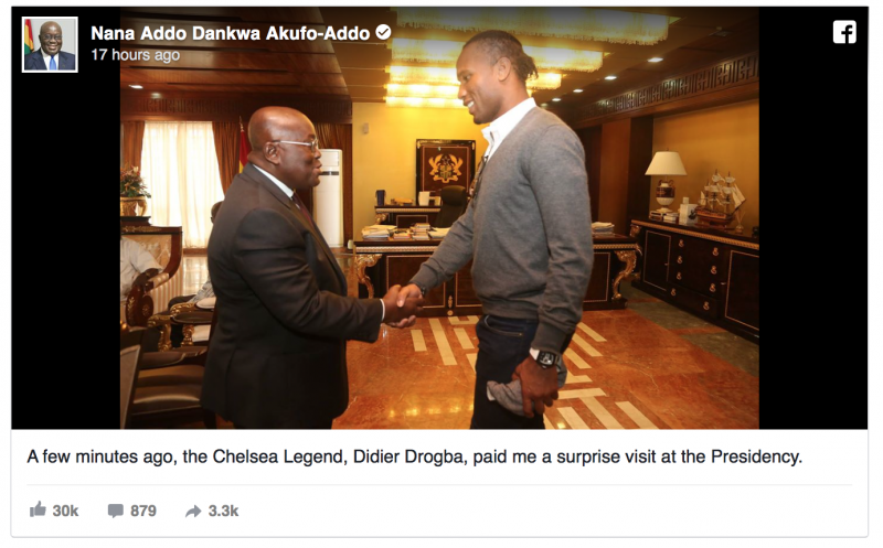 Chelsea legend Didier Drogba calls on Ghana President