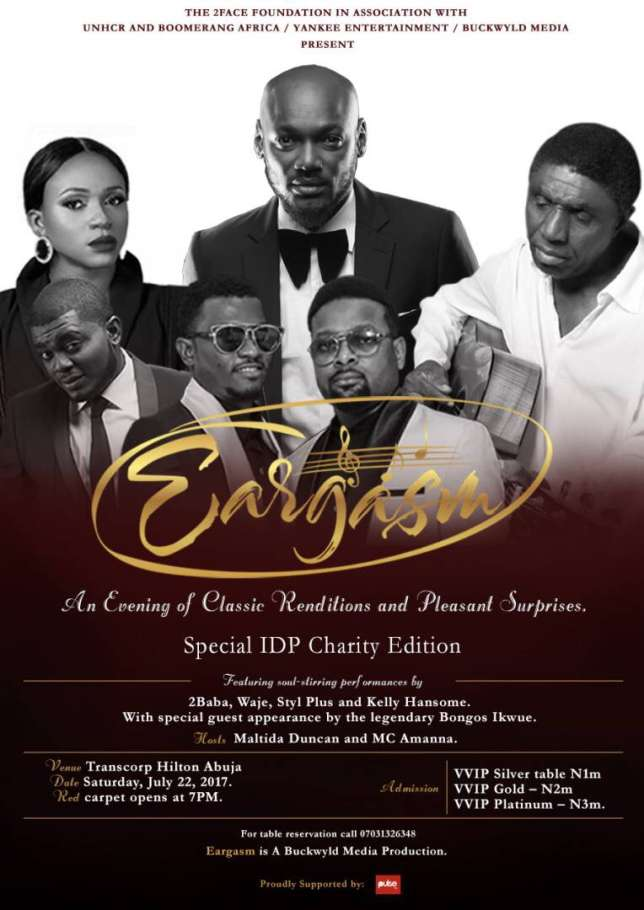 2Baba, Bongos Ikwue, Waje to perform at IDP charity concert in Abuja