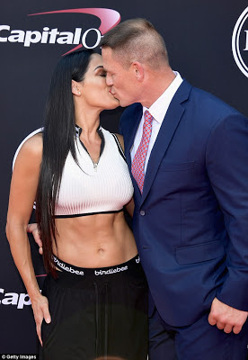 Hot couple alert: WWE stars Nikki Bella & John Cena kiss and show PDA on the red carpet (photos)