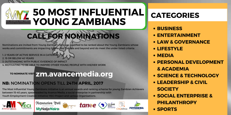 Nomination Opens for 2017 50 Most Influential Young Zambian Ranking