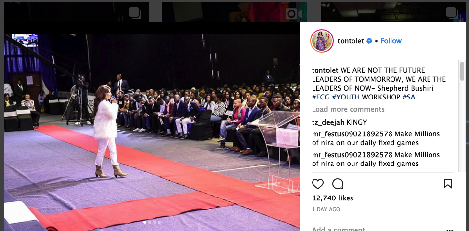 Tonto Dikeh Speaks The Words Of God To 7000 People in South Africa
