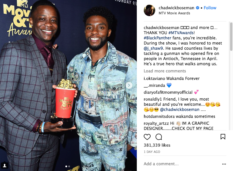 Watch Chadwick Boseman Giving His Awards To A Real Life Hero At The MTV Awards.