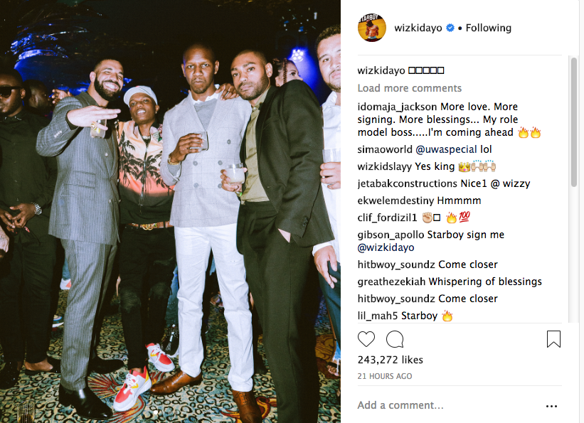 Wizkid congratulates Drake, shares photos spending time with the rapper