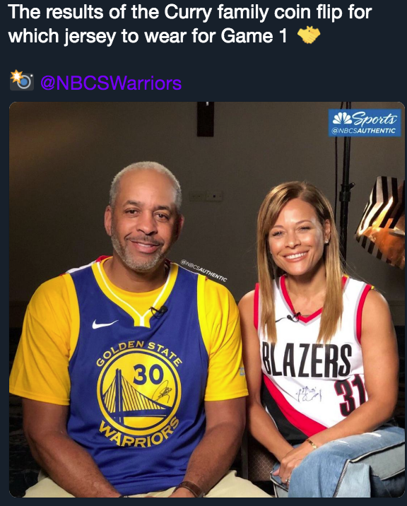 Curry parents flip coin to decide who roots for Blazers, Warriors