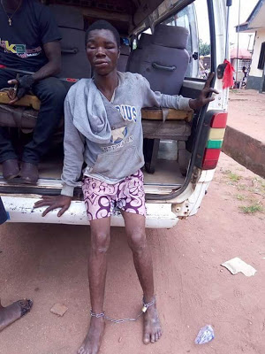 Photos: Photos: 26 year old father of two paraded for stealing a phone in Delta
