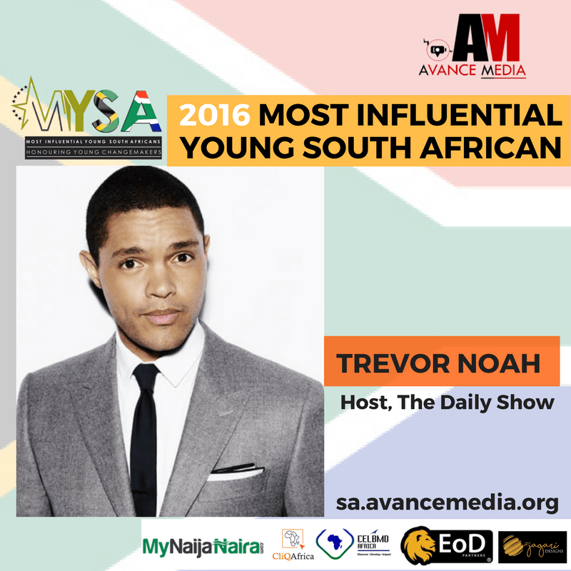 Trevor Noah Voted 2016 Most Influential Young South African